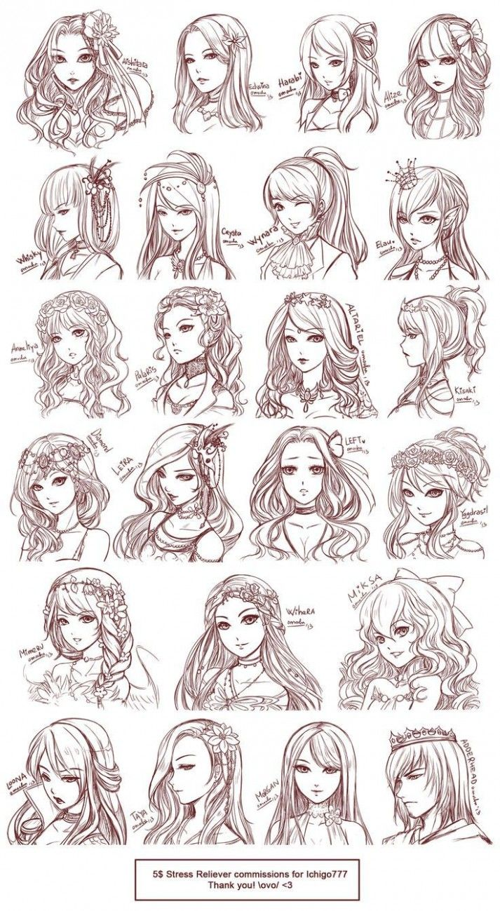 Girl Hairstyle Reference  Drawing hair tutorial, Manga hair, How
