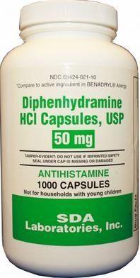 20% cut off ON SALE! Generic Benadryl Allergy - Diphenhydramine (50mg) - 1000 Capsules