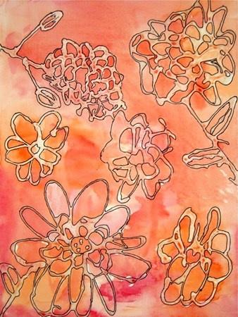 Glue contour lines, watercolor wash with analogous colors, sharpie outlines on glue lines.