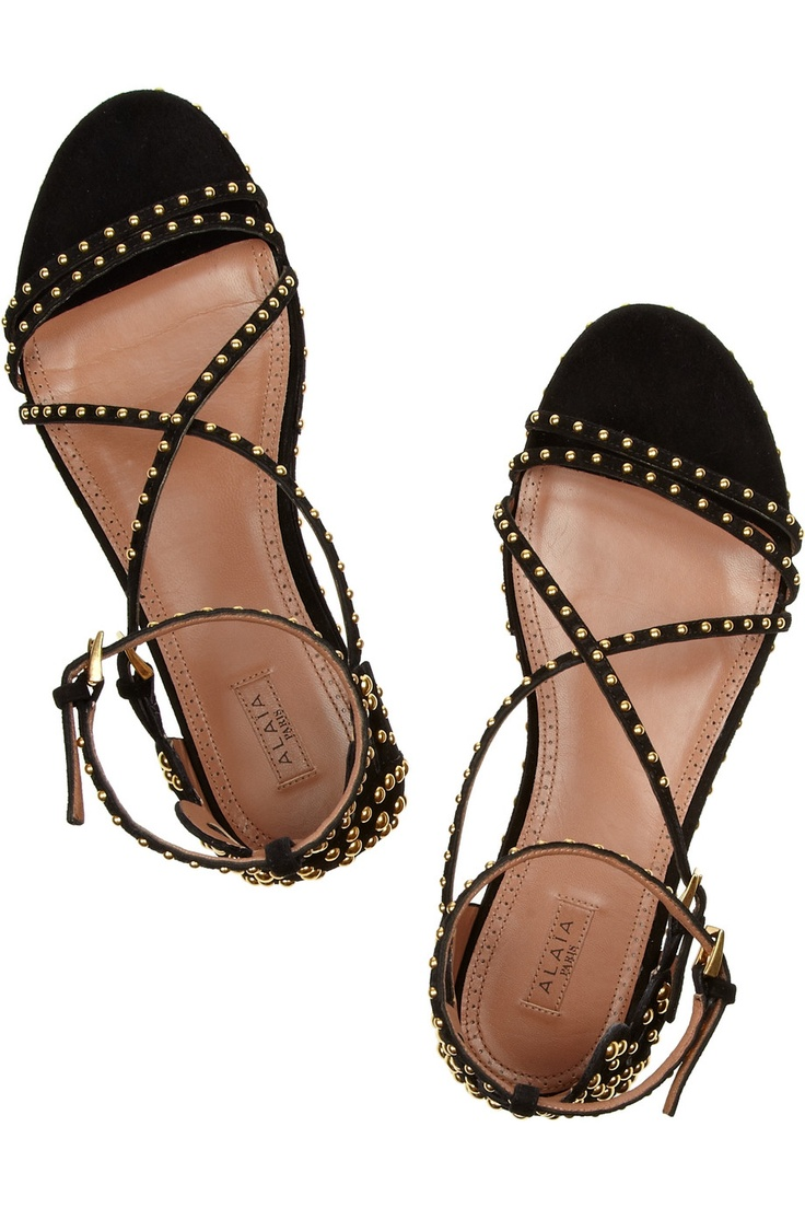 Alaïa Leather Cross-Over Sandals