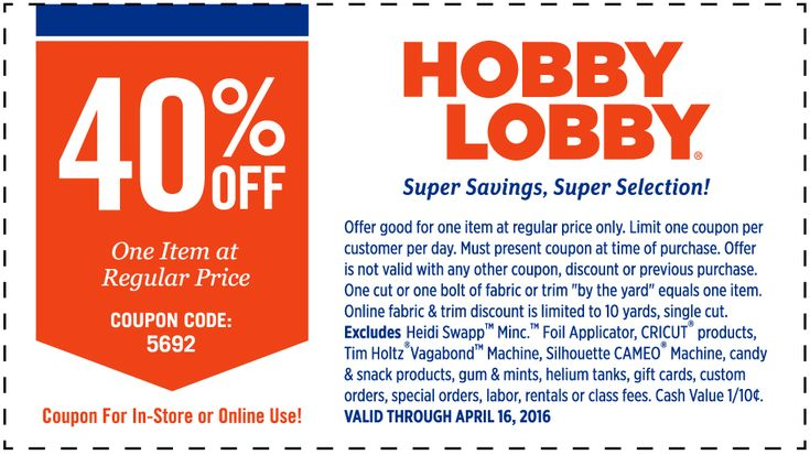 Pinned April 10th: 40% off a single item at Hobby #Lobby or onine via promo code 5692 #coupon via The #Coupons App