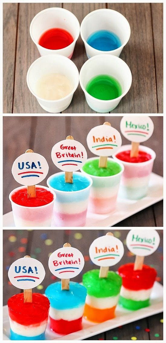 Flag Freezer Pops - cute for World Cup soccer kids