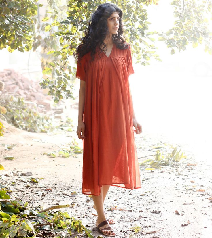 Red layered cotton dress by KharaKapas on Etsy