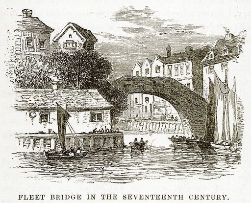 Fleet Bridge in the Seventeenth Century. Illustration from unidentified late 19th century history of England.
