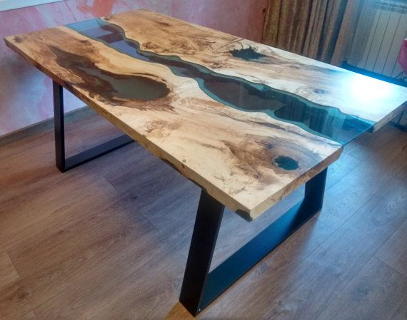 Sold live edge river table blue valley with blue epoxy resin sold epoxy - Concrete effect tafel ...