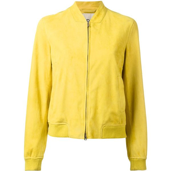 Herno leather bomber jacket ($1,095) ❤ liked on Polyvore featuring outerwear, jackets, green, yellow jacket, herno jacket, flight jacket, yellow leather jacket and 100 leather jacket