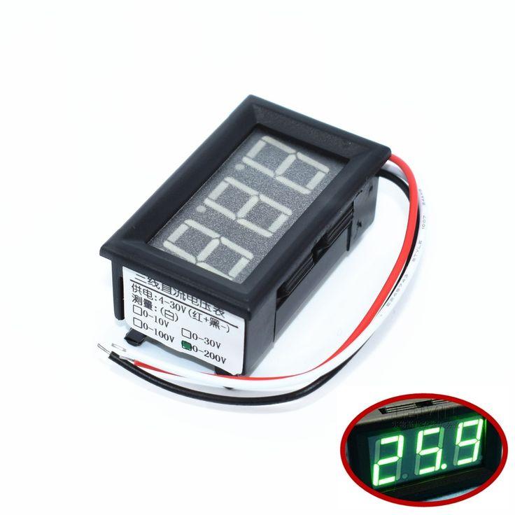 """TENSTAR ROBOT 10pcs 0.56"""" Voltmeter DC:0-200V Three wires Voltage Panel Meter led Color: Green #Affiliate"""
