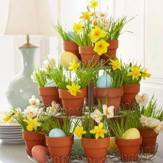 Easter/Spring...  A mini-cupcake holder rises to the occasion when it's repurposed as a seasonal accent. Just insert pint-size pots plus blades of wheatgrass from a health-food store, alternating daffodils with dyed eggs.