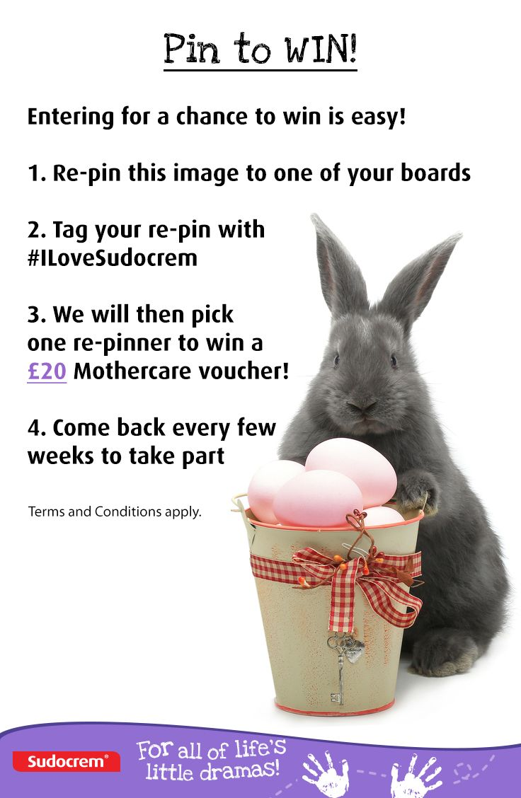 Easter competition time!!! Follow us on Pinterest to take part! Then you simply have to:   1. Re-pin this competition piccie to one of your boards  2. Tag your re-pin with #ILoveSudocrem  3.We will then pick one re-pinner to win a £20 Mothercare voucher  Ends 6th April 2015