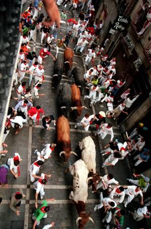 Running of the Bulls in Pamplona, Spain.