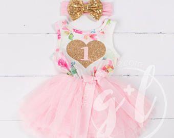 Costume d'anniversaire premier Floral rose, premier anniversaire d'or robe Heart, 1ère tenue d'anniversaire, 1ère robe d'anniversaire, Floral, rose
