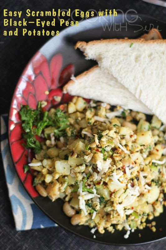 [2014 New Year's Special Recipe] Easy Scrambled Eggs with Black-Eyed Peas and Potatoes. 