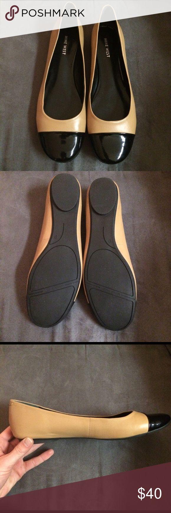 Nine West Nolady Bella Tan & Black Leather Flat ✨NWOT✨ Matte tan leather with shiny black leather rounded toe. Slightly cushioned. Size 9 medium width. Nine West Shoes Flats & Loafers