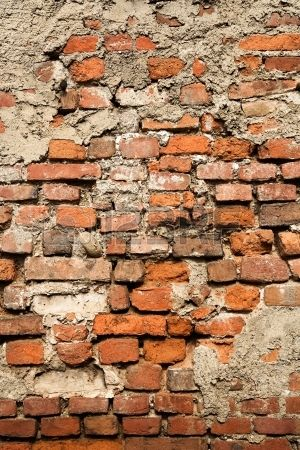 16185568 Abstract Background Texture Of An Old Crumbling Brick Wall With Dama