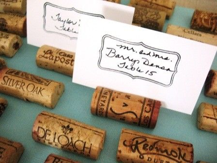Fun for a wine tasting party!  Wine Cork Place Cards