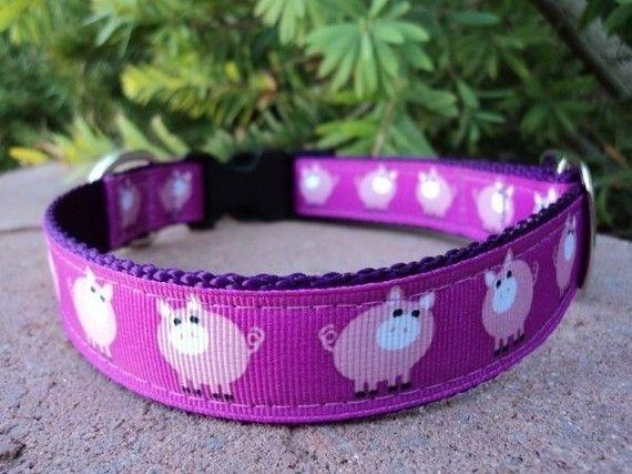 "Here Piggy Piggy - 1"" Adjustable Quick Snap Dog Collar on Etsy, $21.00"