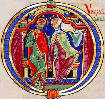 The Winchester Bible, an unfinished illuminated manuscript dating from the twelfth century. This historiated initial shows the Song of Solomon.