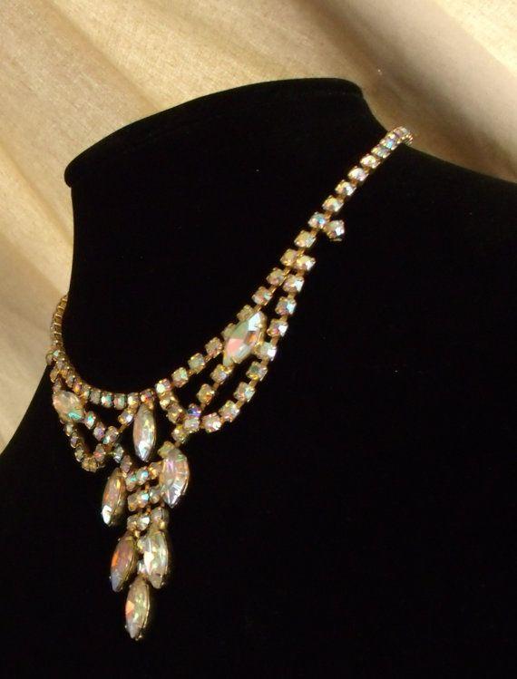 Vintage Aureole Borealis AB Necklace Marquise
