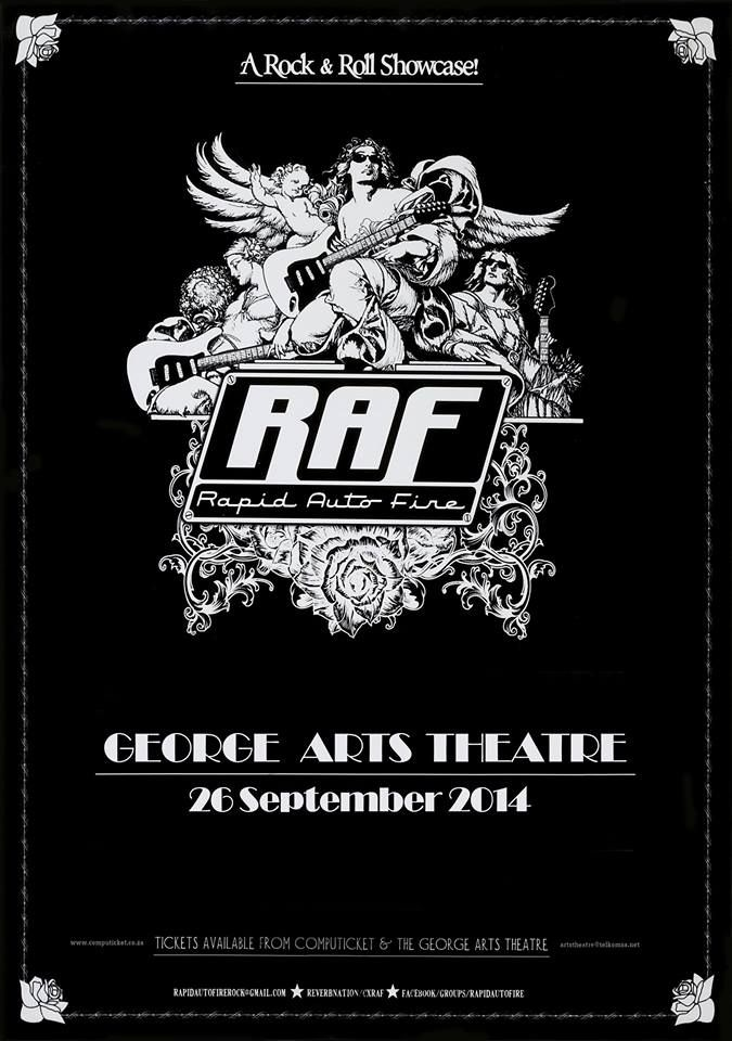 Poster by MOFO Graphic Rock (mofographicrock@gmail.com) for the band Rapid Auto Fire on the occasion of their showcase gig at the George Arts Theater.