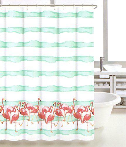 Tropical Pink Flamingo Novelty Fabric Shower Curtain Cotton Bland Stripes Fabric Shower Curtain Caro Home http://www.amazon.com/dp/B00WV2MBW0/ref=cm_sw_r_pi_dp_ERcrvb1FF786W