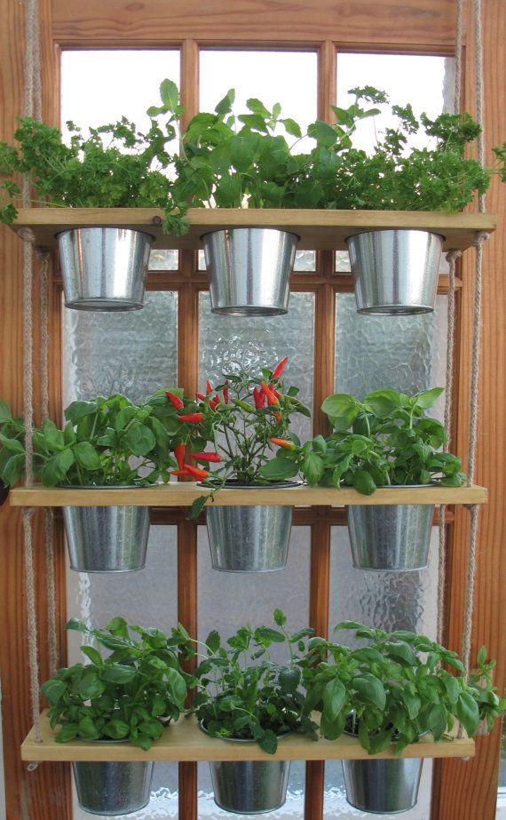 Hanging Shelf And Pots Kitchen Herb Garden Windowsill