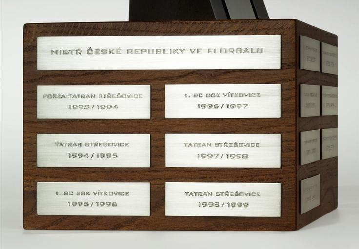 Podstavec poháru se stříbrnými štítky všech výtězů historie extraligy.