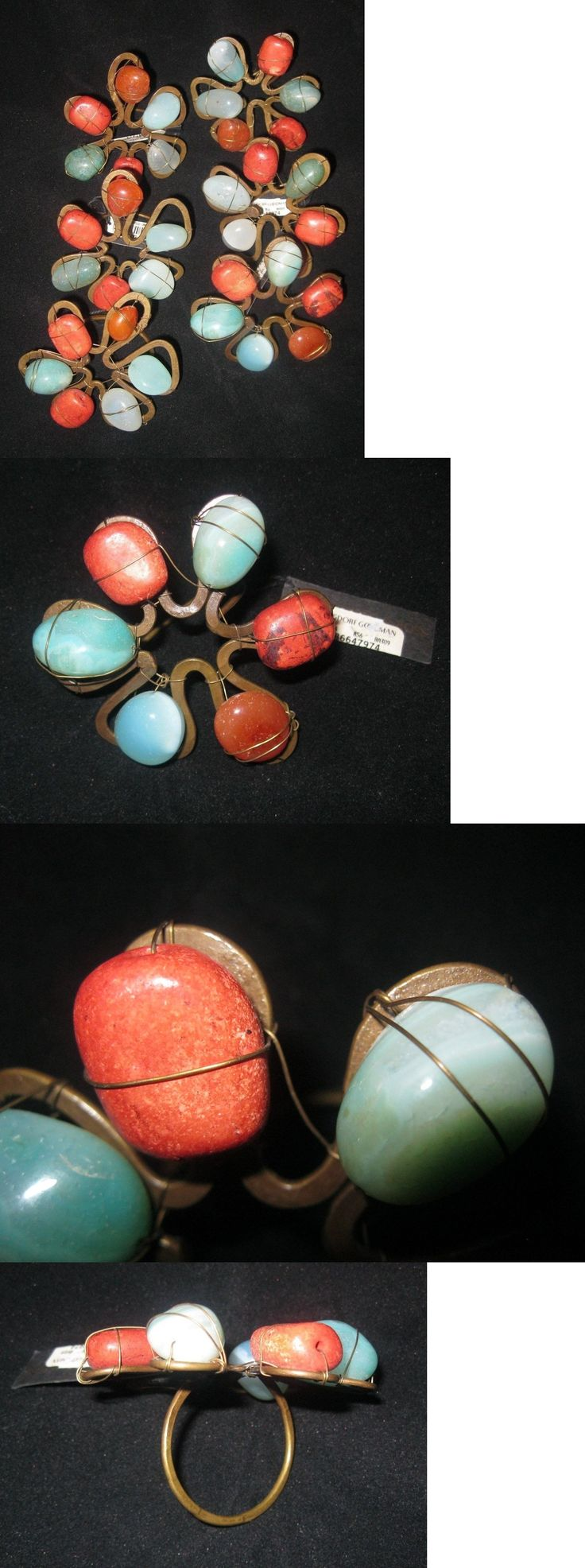 Napkin Rings and Holders 20658: Nwt ~ Dransfield And Ross Set Of 6 Southwestern Style Metal And Stone Napkin Rings -> BUY IT NOW ONLY: $65 on eBay!