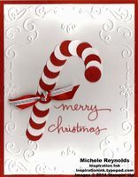 """Handmade punch art candy cane Christmas card using Stampin' Up! products - Endless Wishes Photopolymer Set, 1/2"""" Circle Punch, 3/8"""" Satin Woven Ribbon, 1/8"""" Silver Ribbon, and Filigree Frame Embossing Folder.  By Michele Reynolds, Inspiration Ink, http://inspirationink.typepad.com/inspiration-ink/2014/11/endless-wishes-candy-cane-wishes.html."""