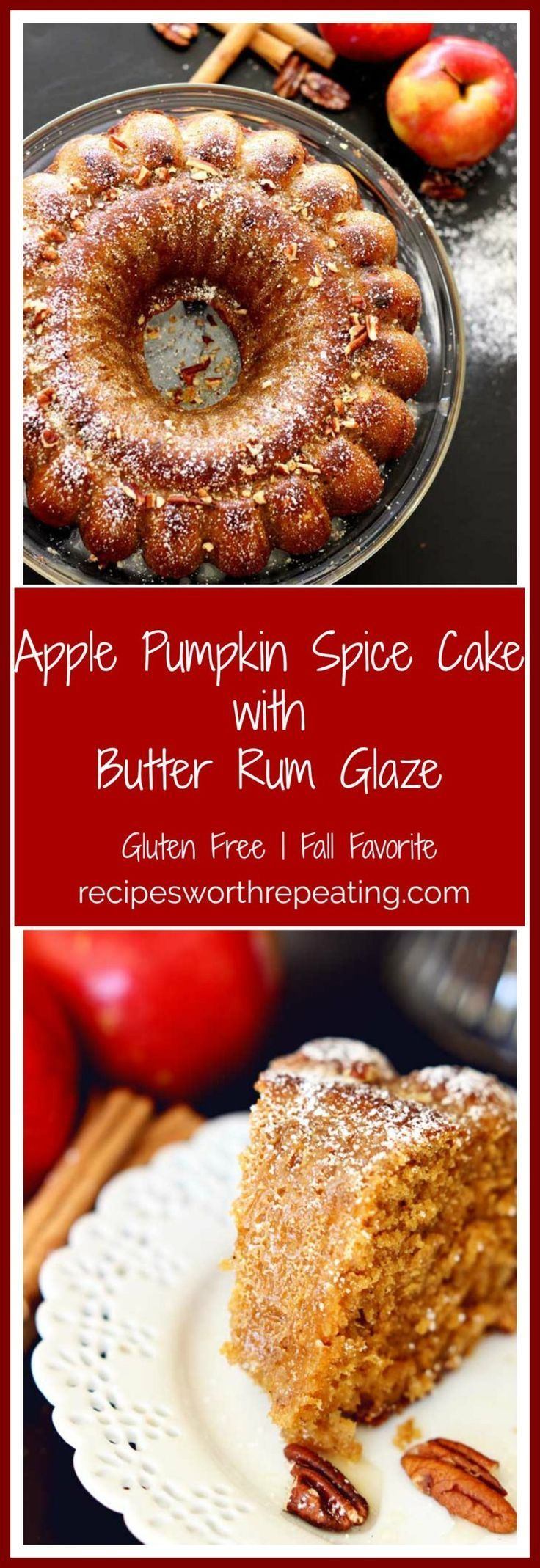 With all the wonderful Fall flavors going on right now, you're guaranteed to love this homemade Apple Pumpkin Spice cake! Apples and pumpkin are in season right now and they pair so perfectly together! Mix in some ground cinnamon, clove and nutmeg…top it with a creamy butter and spiced rum glaze and this homestyle bundt cake is guaranteed to be one of your families Fall favorites!