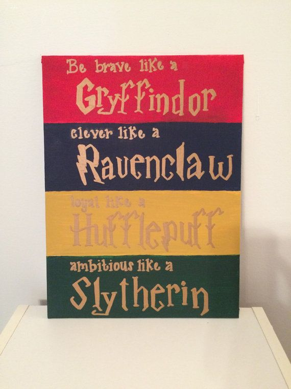 This 9x12 canvas panel includes the traits each Hogwarts house espouses. Ask about customization