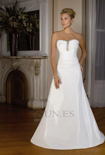 vestido de novia sin tirantes sencillo cintura baja tafetán cola