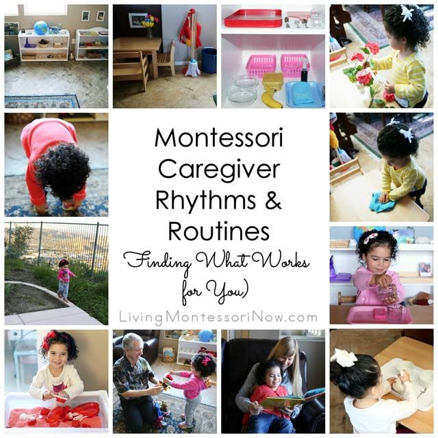 Ideas for following natural rhythms and routines for Montessori caregivers (including ideas for parents, teachers, and caregivers of all kinds) for toddlers and preschoolers especially