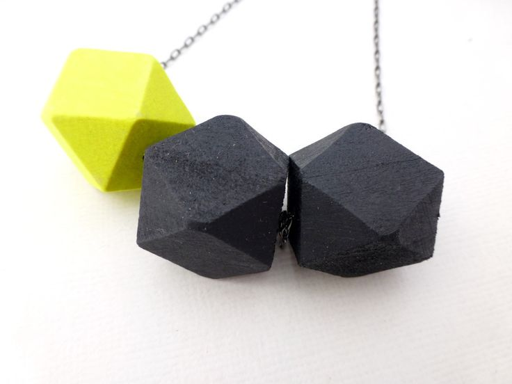 Neon Sunrise Geometric Bead Necklace - Neon Yellow and Black - Whimsy & Grace