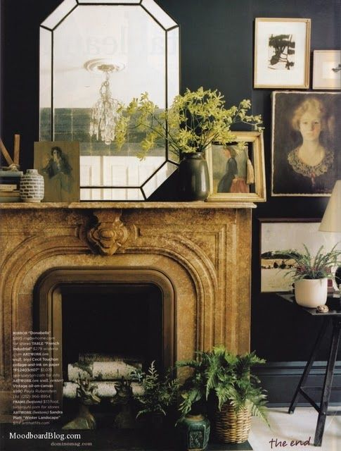 Fireplace, from Domino magazine: Decor, Mirrors, Black Walls, Black Room, Interiors, Living Room, Dark Walls, Fireplaces Wall, Domino Magazines