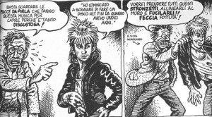"""A domande del tipo: """"Ma anche tu da giovane ascoltavi il rock rumoroso e psichedelico che piaceva a noi giovani"""", Crumb risponde: """"Sì, è vero, ma all'epoca mi facevo di LSD: ero rincoglionito, quindi non conta. E comunque andate a fan…""""[6]. Il tutto accompagnato da vignette altrettanto astiose quanto eloquenti."""