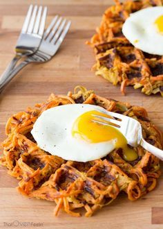 Cinnamon Apple Sweet Potato Waffles-I'm going to do this with other root vegetables too!