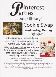 "The Central City Public Library is hosting a ""Cookie Swap"" on Wednesday, December 19th at 6:00 p.m.  Check out the flyer for more information!"
