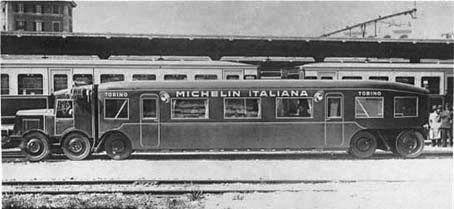 """Tratta Roma Ostia Agosto 1932 fu sperimentata una auto-motrice su pneumatici, progettata dalla Michelin e mossa da un motore Diesel, che in Francia era chiamata Micheline e che a Roma venne ovviamente ribattezzata """"Michelina"""