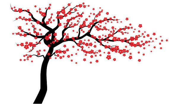 Red Cherry Blossom boom muur sticker muur boom door WallDecalSource