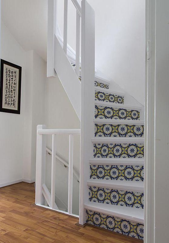 Stairs glue free sticker Portugese tile: