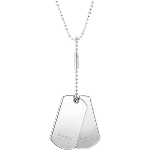 Gucci Dogtag Necklace (Silver) Necklace ($380) ❤ liked on Polyvore featuring men's fashion, men's jewelry, men's necklaces, mens pendant necklace, mens dog tag necklace, mens chain necklace, gucci mens necklace and mens silver chain necklace