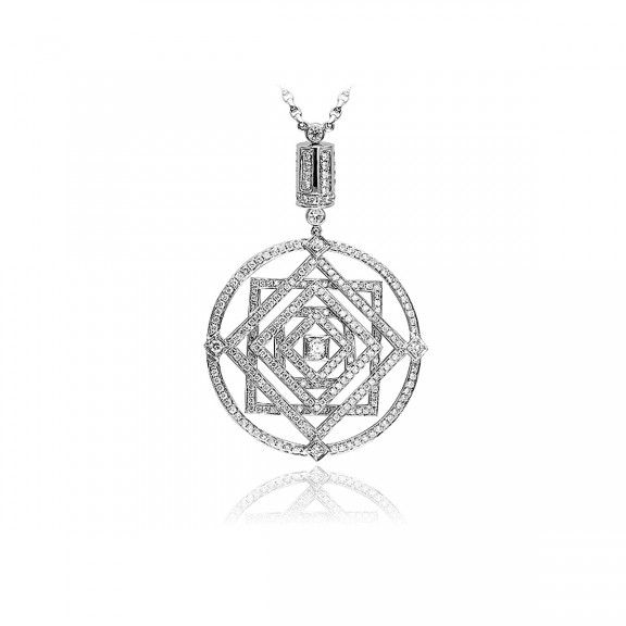 18kt White Gold Cable Link Necklace & Geometric Centrepiece. $8,470.