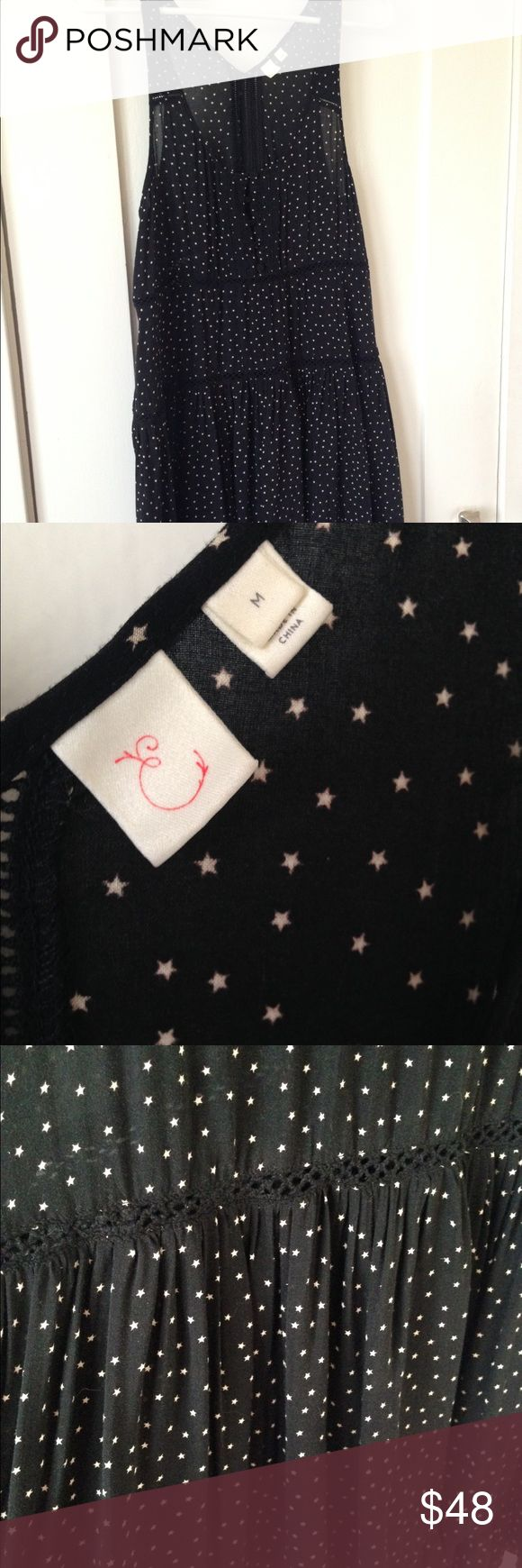 """✨SALE✨Anthropologie Eloise tunic dress This black tunic dress with stars is from Anthropologie by the brand Eloise .. Cute as a tunic or pair with denim.. Size med .. Length is 34"""" Anthropologie Dresses Midi"""