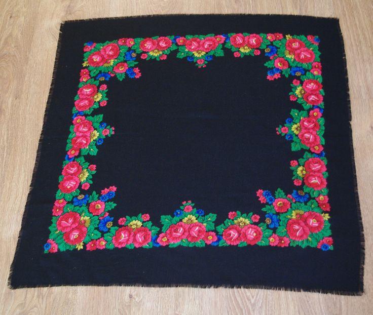 Vintage Black Polish Shawl Polish scarf Russian Shawl Ukrainian shawl Floral square headscarf Roses Neck scarf neckerchief Babushka kerchief by VintagePolkaShop on Etsy