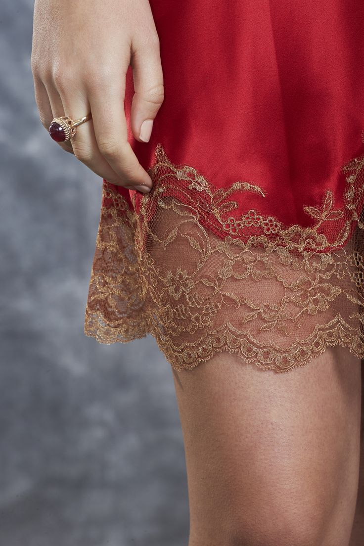 Short Chemise - red silk and french gold lace.
