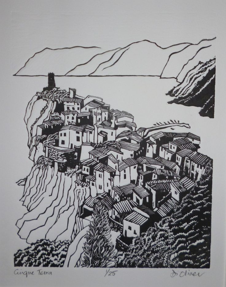 """Cinque Terra"" linocut by Di Oliver. www.dioliver.co.ukTags: Linocut, Cut, Print, Linoleum, Lino, Carving, Block, Woodcut, Helen Elstone, Buildings, Bird's eye view, Town, Landscape."