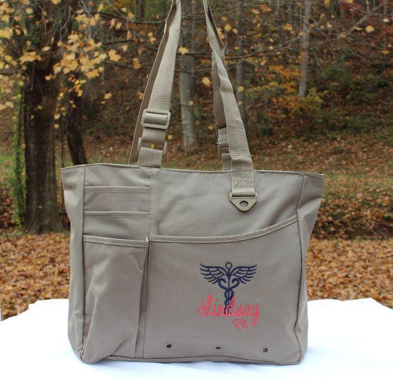 Custom Nurse Bag with Caduceus Nursing RN LPN CNA LVN Tote Bag Gift Sister Personalized Custom Monogram  This super spacious bag is perfect