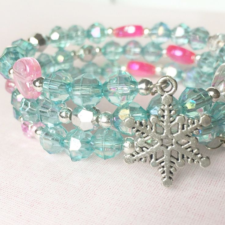 Pink blue and silver snowflake bracelet for girls.