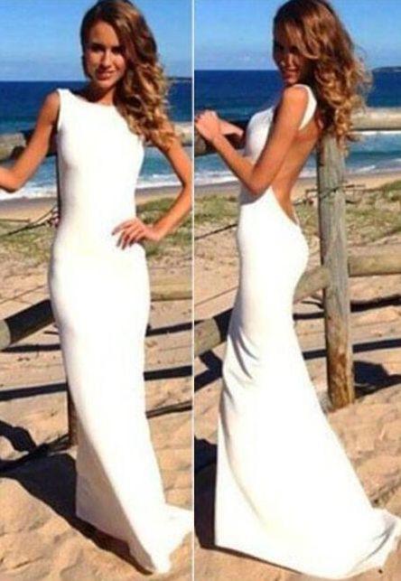 Popular Mermaid High Neck Sleeveless Backless Sexy White Evening Dress Prom Gowns,Sexy Open Back Cheap Prom Dresses,Beach Wedding Dress