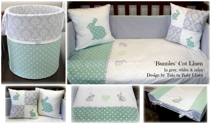 Bunny Cot / Nursery Linen in white, grey & mint designed by Tula-tu Baby Linen: www.tulatu.co.za #Cotlinen #Nurserylinen